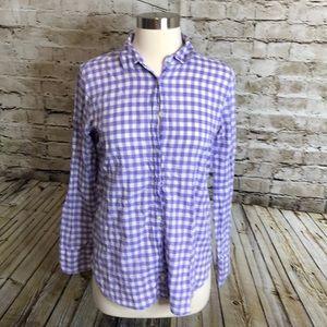 JCrew Boy Shirt Button Up Size 2 Purple/White